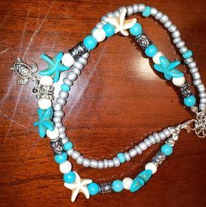 Jewelry - Sea turtle and starfish ankle bracelet